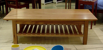 Coffee table in Stripey Ash with slatted shelf