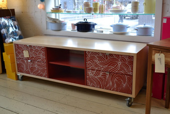 Rock Maple and Red  three column hifi cabinet