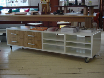 White four column cabinet with Ash drawers