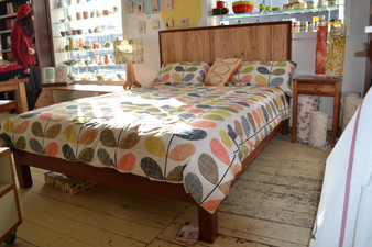 Straight back Jarrah bed with Crazy Ash panel, Queen
