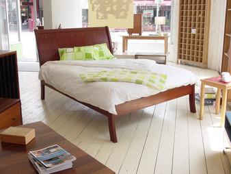 Sleigh Bed, Redgum, Queen size