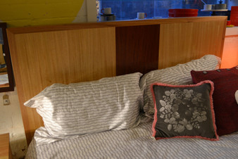 Straight back bed, Ash with redgum stripe, queen size
