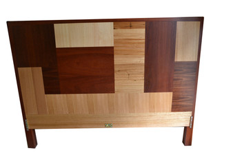 Straight back bed, Jarrah frame with jarrah and ash patchwork bedhead