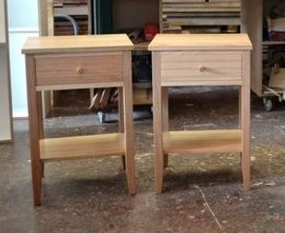 Bedside tables, drawer and shelf, stripey Ash