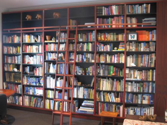 large bookcase with ladder, jarrah and black