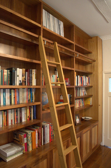Blackwood bookcase and cupboards with ladder