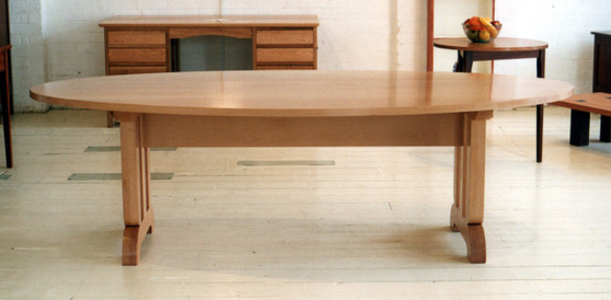 Oval beech table with art deco ends