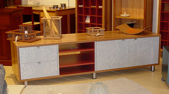 Four column cabinet with drawers and cupboards