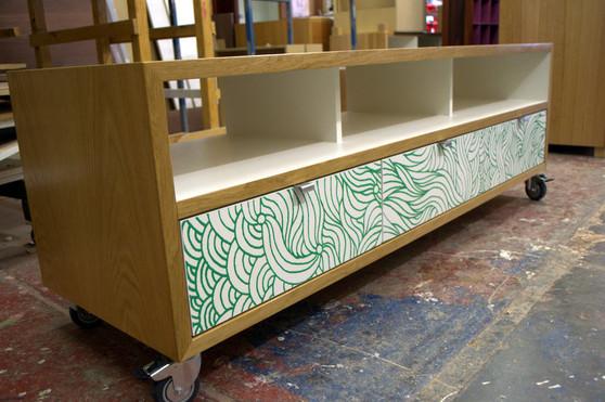Oak  three column cabinet