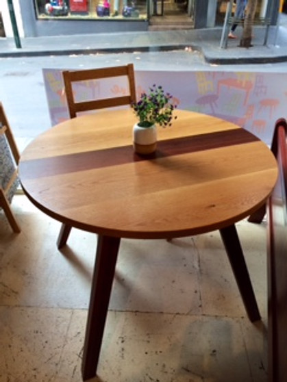 Circle dining table, Ash with Jarrah stripe