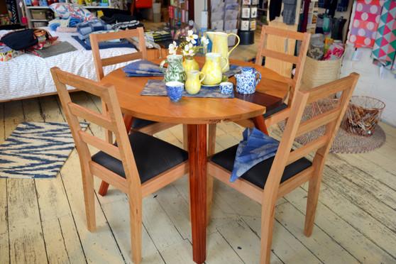 Circle dining table, Oak with Jarrah stripe