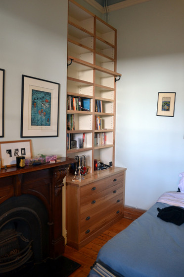 Ash bookcases with bench, drawers and ladder