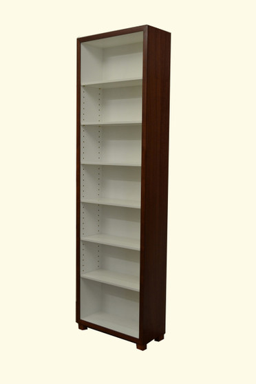 Bookcase, Tall and Slim, Jarrah with white interior, Barbi style