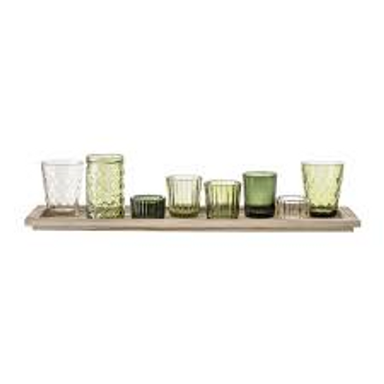 BLOOMINGVILLE green glass votive set of 8 with rectangular tray