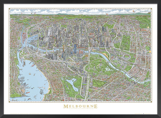 THE MELBOURNE MAP colour poster small
