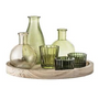 BLOOMINGVILLE green glass votive set of 6 with round tray