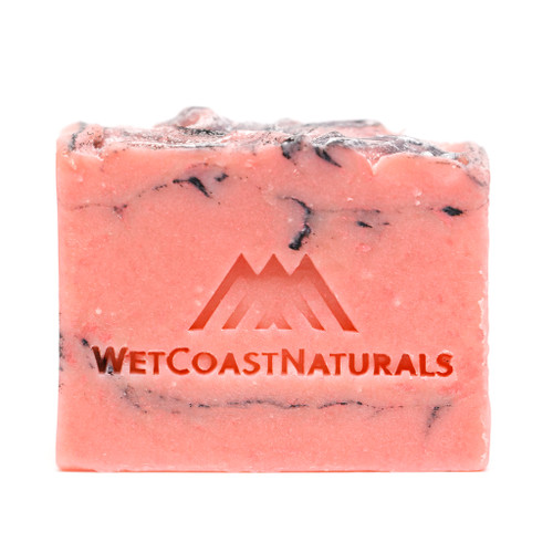 Tickled Pink Bar Soap. Primarly pink with swirls of dark purple.