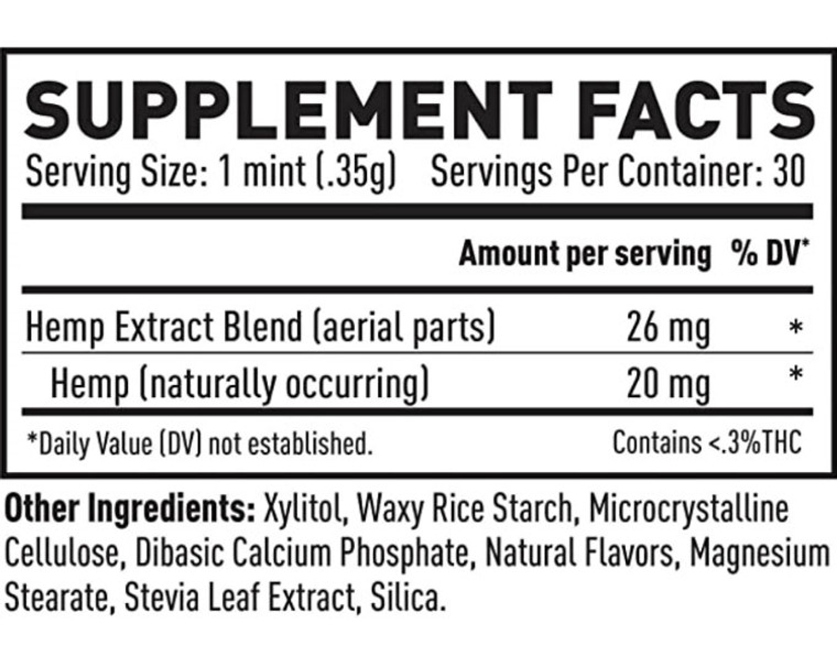CBD Peppermint Mints Label