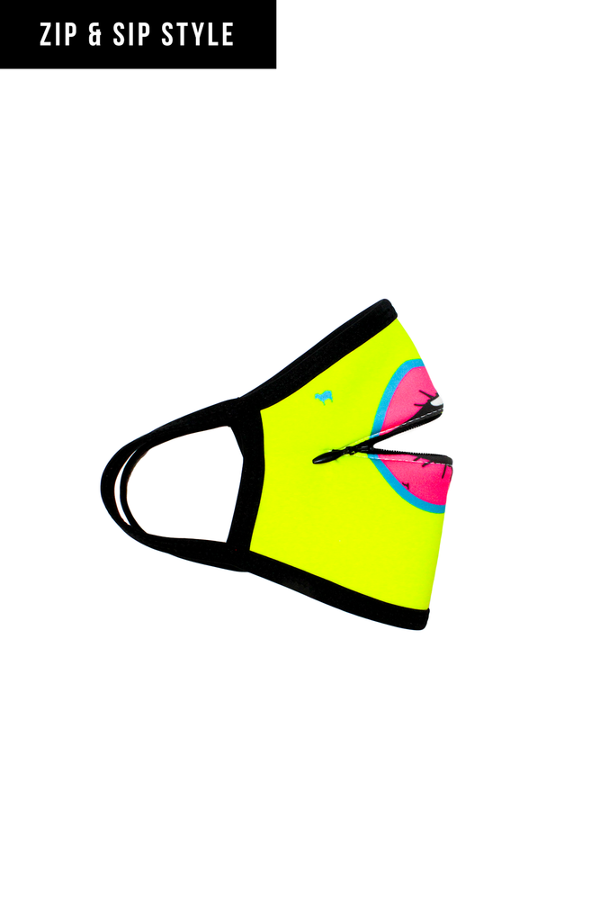 ZIP & SIP STYLE! Sport the most stylish mask in the crowd! Goldsheep Clothing's Zip and Sip Mask in Neon Yellow Lips! Other colors & designs available in Neon Pink & Black Mustache!  Mask cover made from a poly/blend fabric; Machine wash in cold water, light tumble to dry; Straps to be worn behind the ear;   BE CAREFUL - Don't ZIP your LIP!