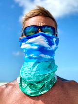 This colorful buff makes mask-wearing more fun! One-of-a-kind print, breathable & made with a moisture-wicking material perfect for mask purposes and/or sun protection. Our buff's beautiful image is actually a photo taken by Coco herself while out at the sandbar on a Florida Keys boat day!