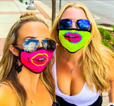 ZIP & SIP STYLE! Sport the most stylish mask in the crowd! Goldsheep Clothing's Zip and Sip Mask in Neon Pink Lips & Neon Yellow Lips! Also available in Black Mustache!  Mask cover made from a poly/blend fabric; Machine wash in cold water, light tumble to dry; Straps to be worn behind the ear;   BE CAREFUL - Don't ZIP your LIP!