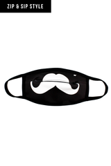 ZIP & SIP STYLE! Sport the coolest mask in the crowd! Goldsheep Clothing's Zip and Sip Mask in Mustache Black! Other colors & styles available in Neon Yellow Lips & Neon Pink Lips!  Mask cover made from a poly/blend fabric; Machine wash in cold water, light tumble to dry; Straps to be worn behind the ear;   BE CAREFUL - Don't ZIP your LIP!