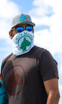 #maskup Coco's Monkey style! Made with soft, cotton material and perfectly stamped with our trademarked Coco's Monkey logo in Seafoam Green on a white neck gaiter. Also available in Royal Blue with White logo! Use it to protect your face and neck from the elements and/or wear it as a face mask! Show your Coco's Monkey love!