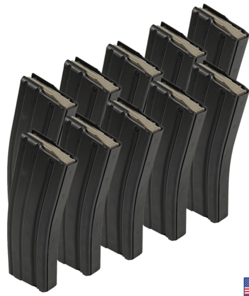 Black Teflon Coated Aluminum 5.56mm 30rd Magazine w/ MAGPUL Anti-tilt Follower- Pack of 10- REBUILD KIT