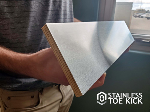 Stainless Steel Toe Kick with Rigid Backing (Grained Finish) is professionally bonded to a strong plywood core to make it compatible for cabinets without traditional cabinet bases.