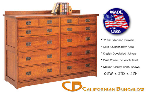 Arts & Crafts Mission Style 12 Drawer Mule Chest Dresser