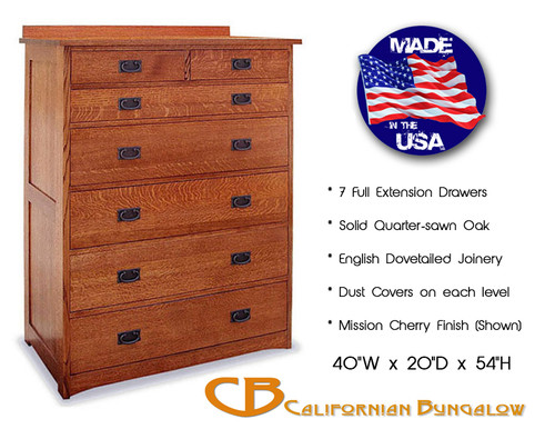 Arts & Crafts Mission Style Solid Oak 7 Drawer Chest / Bureau
