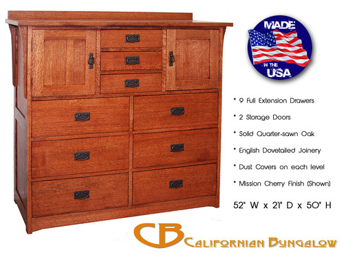 Arts & Crafts Classic Mission Style Deluxe 9 Drawer / 2 Door Dresser Bureau