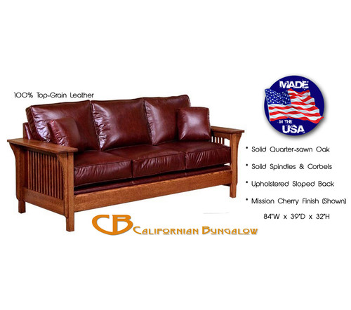 Classic Mission Arts & Crafts Upholstered Leather Sofa