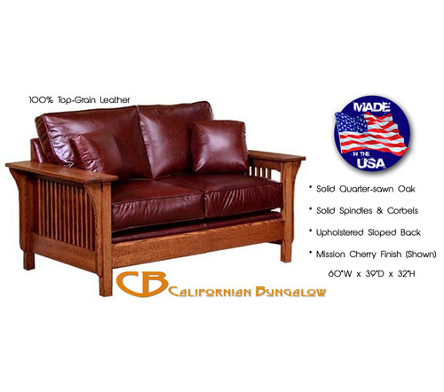 Mission Style Leather Loveseat Settle