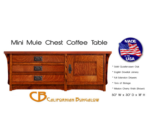Arts & Crafts Mission Mini Mule Chest Storage Coffee Table