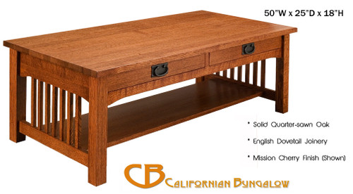 Arts & Crafts Mission Style 2 Drawer Craftsman Coffee Table