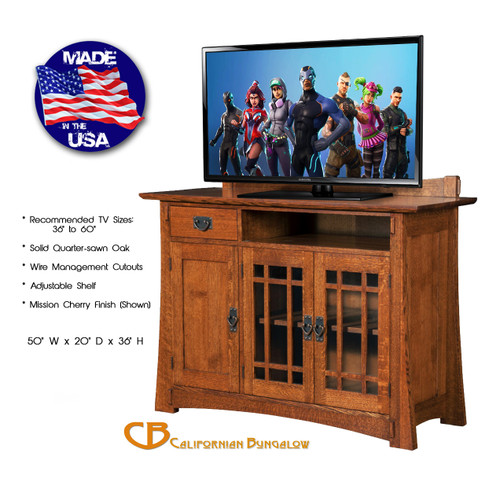 Arts & Crafts Mission Bungalow Style Solid Oak Compact TV Stand