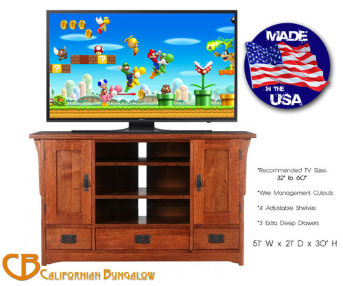 Arts & Crafts Mission Style Solid Oak Compact TV Stand