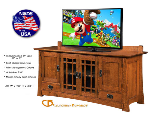 "Arts & Crafts Mission Bungalow Style Solid Oak 66"" Large TV Stand"