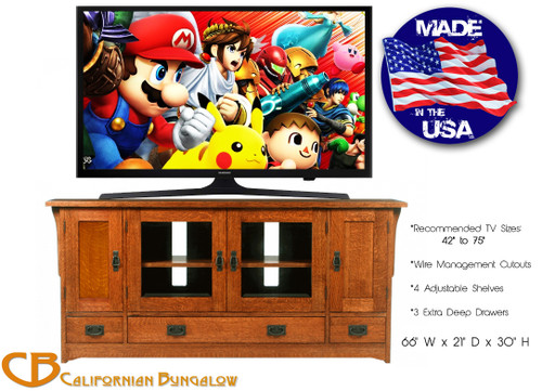 Arts & Crafts Mission Style Solid Oak Large TV Stand