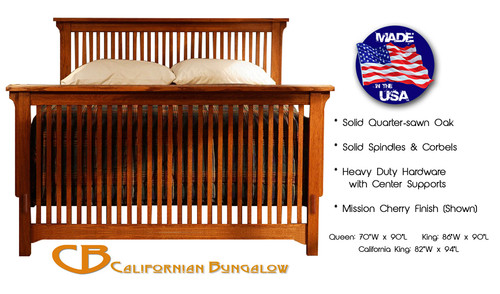 Arts & Crafts Mission Style Solid Oak Rake Spindle Bed