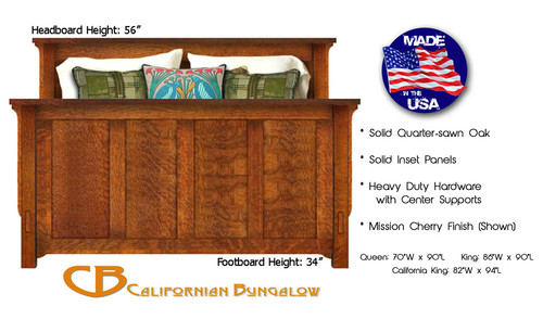 Arts & Crafts Mission Style Solid Oak Panel Bed Queen King
