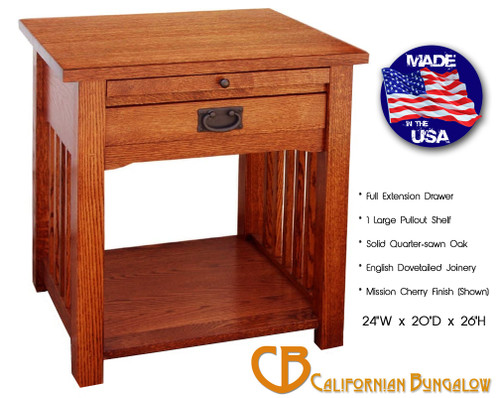 Arts & Crafts Mission Style Solid Oak 1 Drawer Nightstand