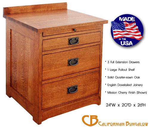 Arts & Crafts Mission Style Solid Oak 3 Drawer Nightstand