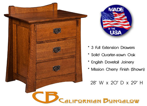 Arts & Crafts Mission Bungalow Solid Oak 3 Drawer Nightstand