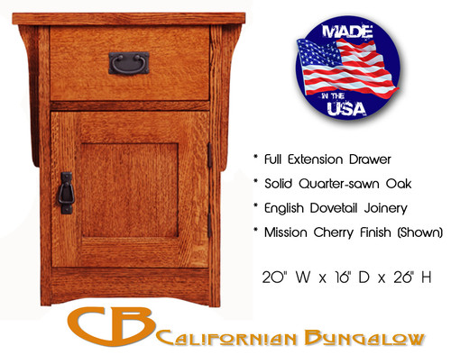 Arts & Crafts Mission Style Compact 1 Drawer / 1 Door Nightstand / End Table