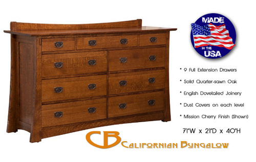 Arts & Crafts Mission Bungalow Solid Oak 9 Drawer Dresser