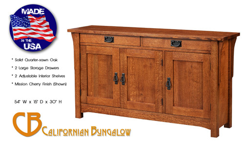 """Arts & Crafts Mission Style Solid Oak 54"""" Console Table / Buffet / Sideboard"""