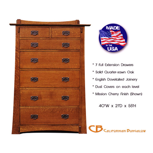 Arts & Crafts Mission Bungalow Solid Oak 7 Drawer Chest / Bureau