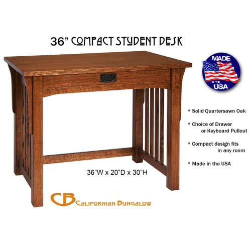 "Arts & Crafts Mission Style Solid Oak 36"" Compact Student Library Desk"
